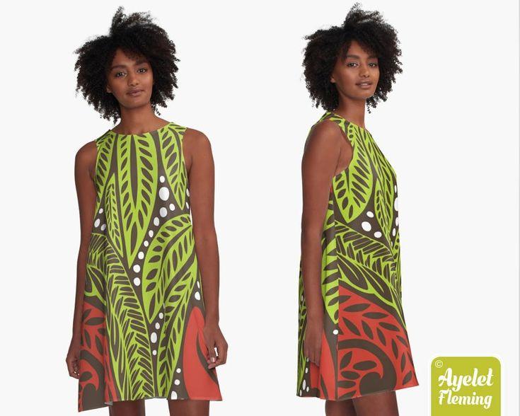 Floral Dress for Women, Polynesian Tribal Women's A-line Dress, Polynesian Clothing, Tribal Floral Birthday Gift, Colorful Flower Dress