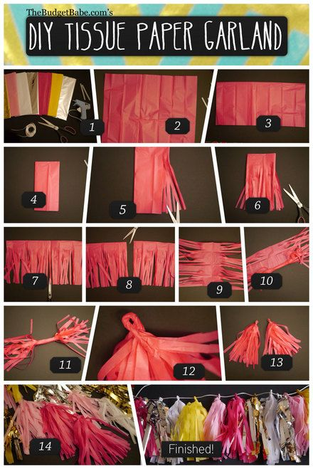 DIY Tissue Paper Tassel Garland Tutorial... my daughter and I are making these to attach onto balloons for a friend's baby shower.