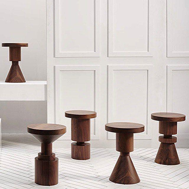 #stool #sidetable | wooden stools, wooden side tables. turned geometrics at icff 2015 anna karlin studio via meyerdavis.jpg