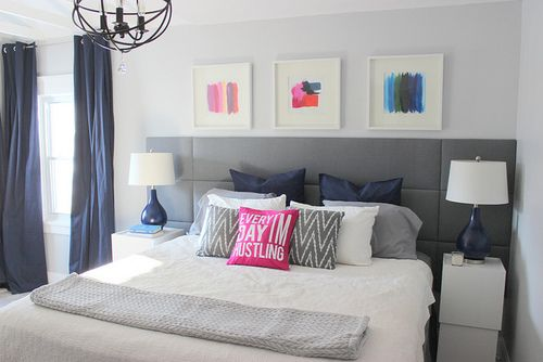 Hello Pretty Things: Color Schemes, Diy Art, Spare Bedrooms, Blue Bedrooms, Diy Headboards, Master Bedrooms, Upholstered Headboards, Bedrooms Ideas, Modern Bedrooms