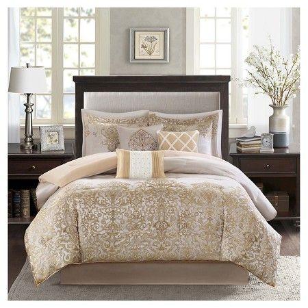 $104 Priscilla 7 Piece Comforter Set- Gold (King) : Target