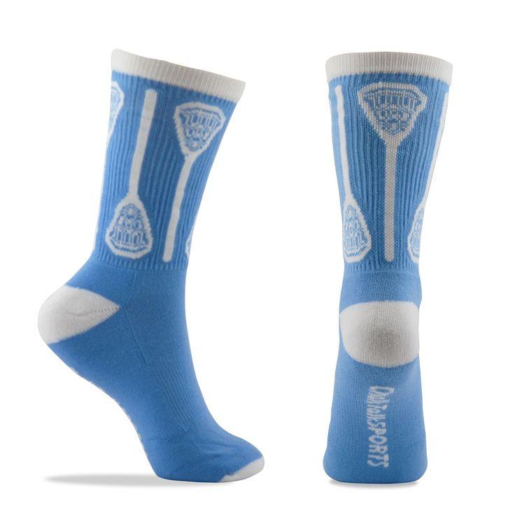 Morgan Lacrosse Vertical Sticks Crew Socks - Light Blue/White | Lacrosse Gear | Lacrosse Gifts