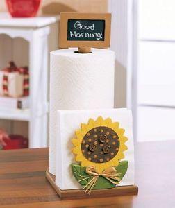 sunflower kitchen decor   ... Sunflower Wood Paper Towel Napkin Holder Chalk Board Kitchen Decor