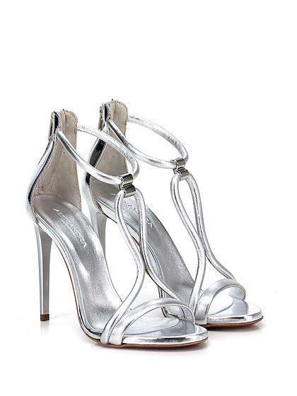 Alexandra - Sandalo alto - Donna - Sandalo alto in pelle laminata e pelle specchiata con zip su retro e suola in cuoio. Tacco 110. - ARGENTO - € 155.00