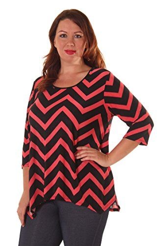 """Hot Ginger Women's Plus Size Chevron Print Lace Back Top (Size: 1X-3X)  Features: Lace Back, Beautiful Printed Styles, Sharkbite Bottom, Round Neck, 3/4 Sleeve, Lightweight Material  Fabric Content: 95% Polyester & 5% Spandex  Measurements: Chest: 28"""" Waist: 23"""" Length: 27"""", Fits true To Size (Measured By a 1X Sample)  Machine Wash Cold / Low Heat Dry  Made In U.S.A"""