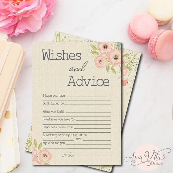 Wishes for Bridal Shower Printable | INSTANT DOWNLOAD | Rustic Floral Bridal Shower Game | Pink Bridal Shower Decoration | Advice for Bride