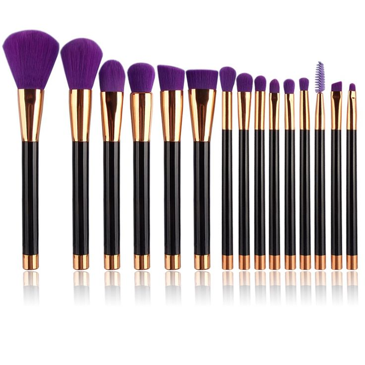 UNIMEIX 15pcs Makeup Brush Set Synthetic Kabuki Comestics Foundation Blending Blush Eyeliner Face Powder Brush Comestic Tool ( Purple). -100% GUARANTEE: Please feel free to contact us if you have any problems. We promise 100% Refund if you are not satisfied with our product or our service!. -COVERING ALL BASIC NEEDS: covering the basic needs of all your makeup up brushes. Foundation Brush, Concealer brush, Duo fiber Brush, Powder brush Blush brush, Flat Contour Brush, Bronzer Brush; a…