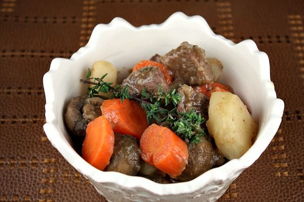 A basic beef stew with lots of added mushrooms and carrots.  This recipe includes nutritional information and weight watchers points.  Photograph included.