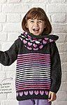 Вязаный спицами детский пуловер и снуд Love Hart