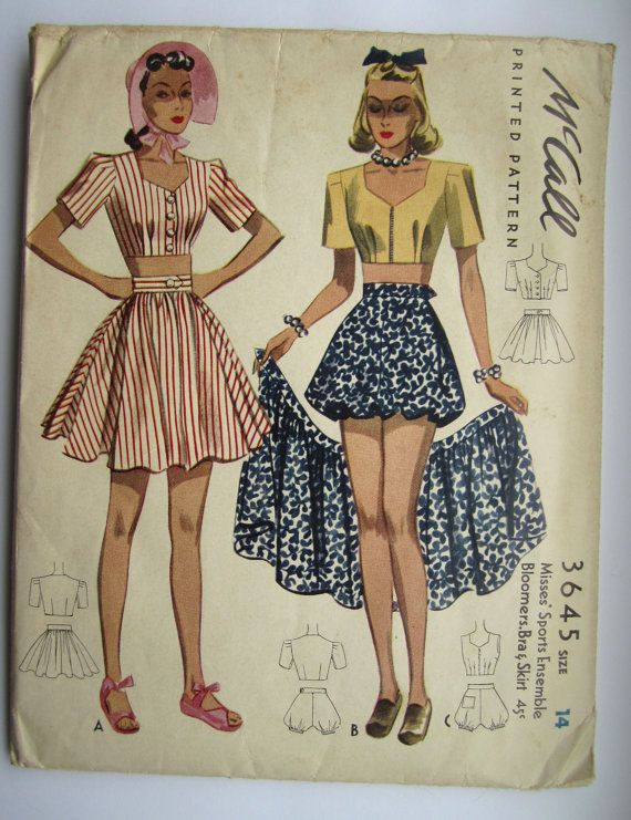 Vintage Sewing Pattern 1940's Ladies' Play Suit Bust by Mrsdepew, $65.00