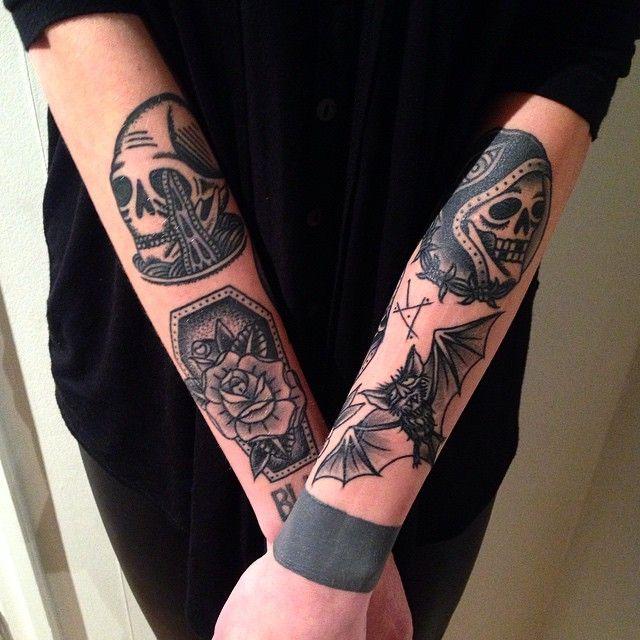 Oldschool tattoo blackwork by tattoo artist William Roos of StockholmInk Stockholm, Sweden