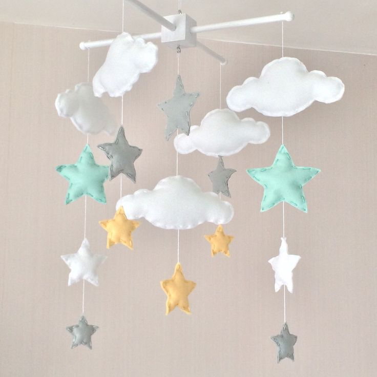 Baby mobile - Cot mobile - clouds and stars - Cloud Mobile - Nursery Decor  - Pastel baby mobile - mint, grey and yellow by EllaandBoo on Etsy https://www.etsy.com/listing/246807950/baby-mobile-cot-mobile-clouds-and-stars
