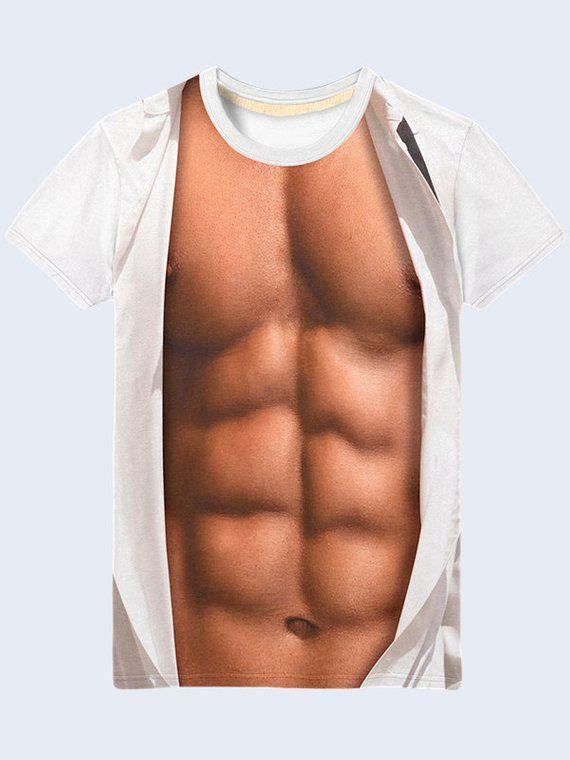 913704bc Muscle Shirt, Naked Torso Shirt for Men, White Shirt, Athletic Mens Top, Summer  Clothes for Men, Fun