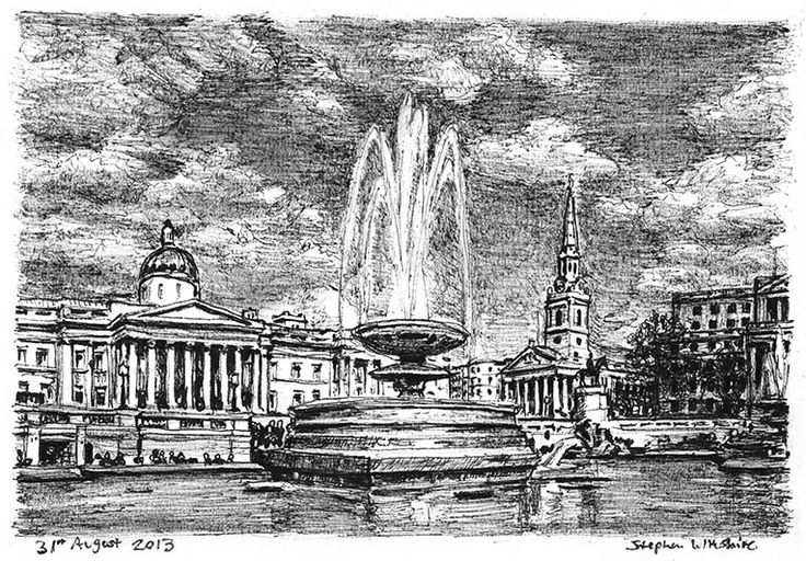 Trafalgar Square - drawings and paintings by Stephen Wiltshire MBE