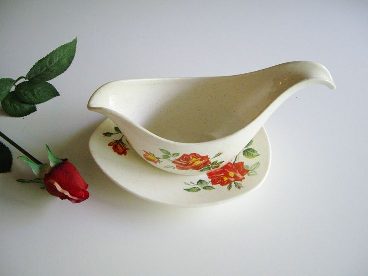 Vintage, Midwinter Modern, Gravy Boat, Staffordshire England, Roses, Under Plate, Mid Century Modern, MCM, Rose Pattern, Fashion Shape by Vintagerous on Etsy