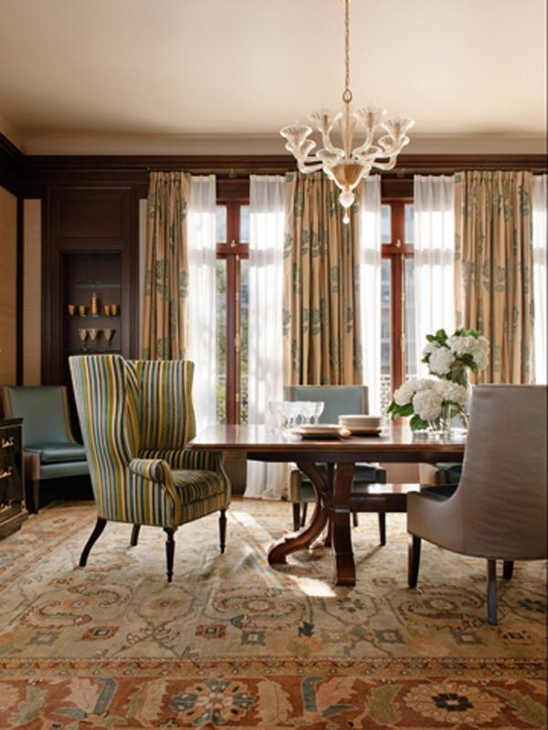 Traditional Dining Room By Kendall Wilkinson Design This Wainscott Wing Chair Victoria Hagan Has A Unified Seat Back And That Creates Near