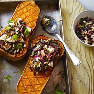 Roasted Butternut Squash with Feta, Red Onions & Pine Nuts  - Healthy & Easy Recipes I love the sound of this with some chicken in the mix.