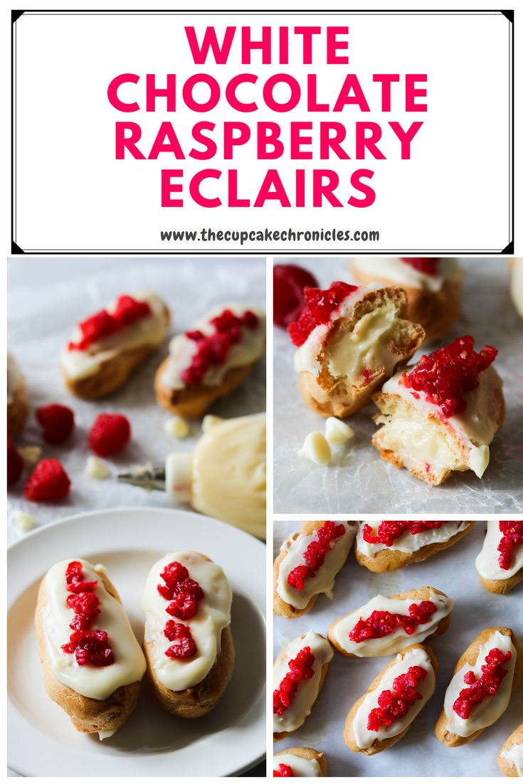 Eclairs filled with a creamy custard and topped with white chocolate and fresh raspberries
