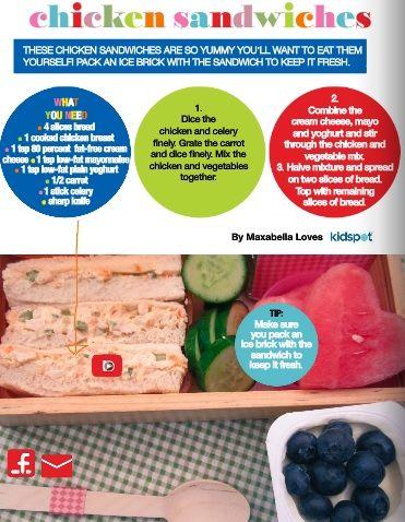Chicken sandwich - pg 14 of the Kidspot lunchbox flipbook