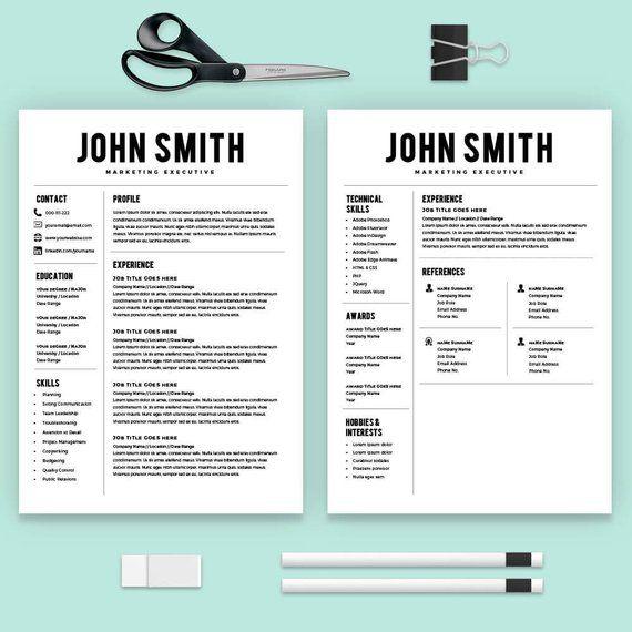 Resume Template Resume Builder CV Template Cover Letter Etsy