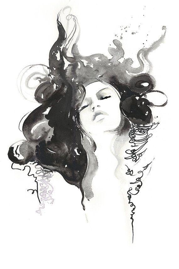 Black ink fashion watercolor print fashion illustration