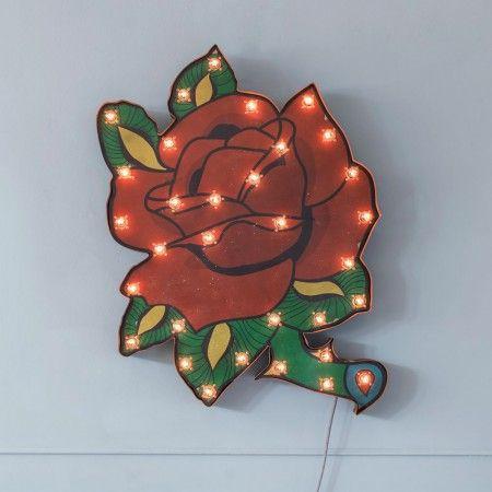 Unusual vintage rose tattoo style wall light