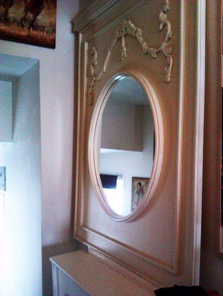 ORIGINAL UNIQUE CUSTOM HAND MADE REAL GOOD QUALITY WOOD LARGE VERSATILE PANEL WITH ROUND MIRROR IN T
