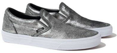 Vans Unisex Classic Slip-On Metallic Sneakers silver M4 W5.5