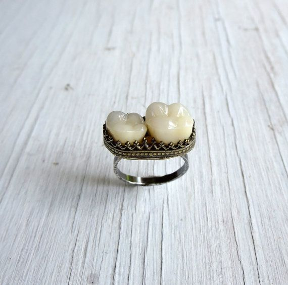 Memento Mori Tooth Ring Human Teeth Jewelry by AustinModern, $145.00
