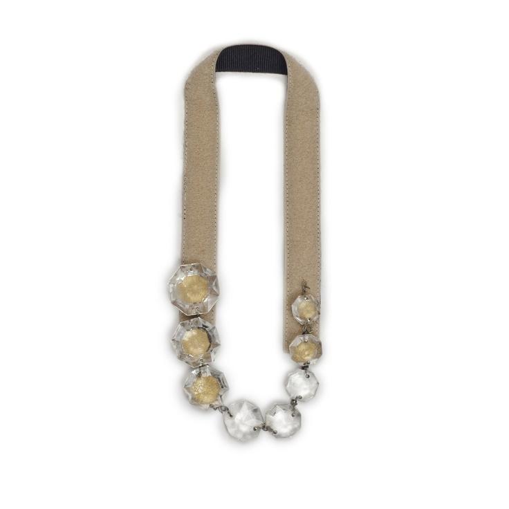Collana  collana in velcro foderata in gros grain con una fila di cristalli chandelier riposizionabile