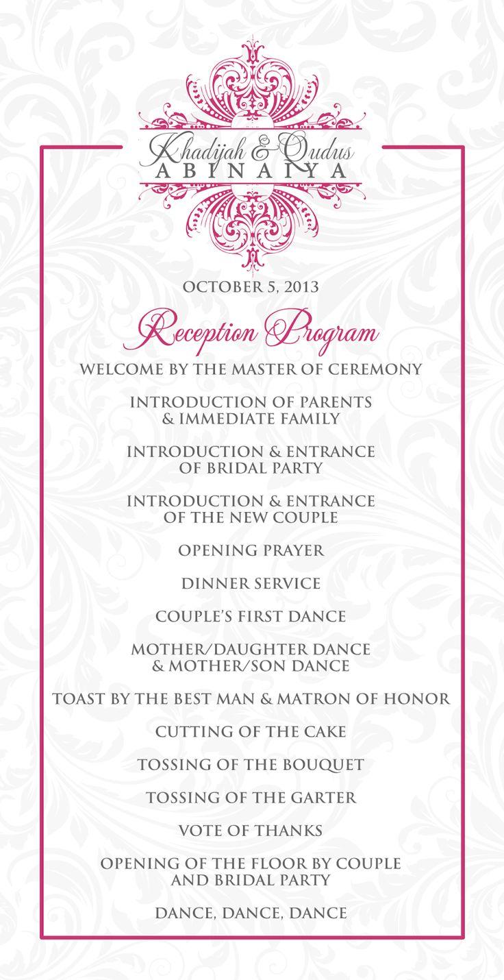 Wedding Reception Program Outline Agenda Wedding Stationery For Khadijah In 2019 Wedding