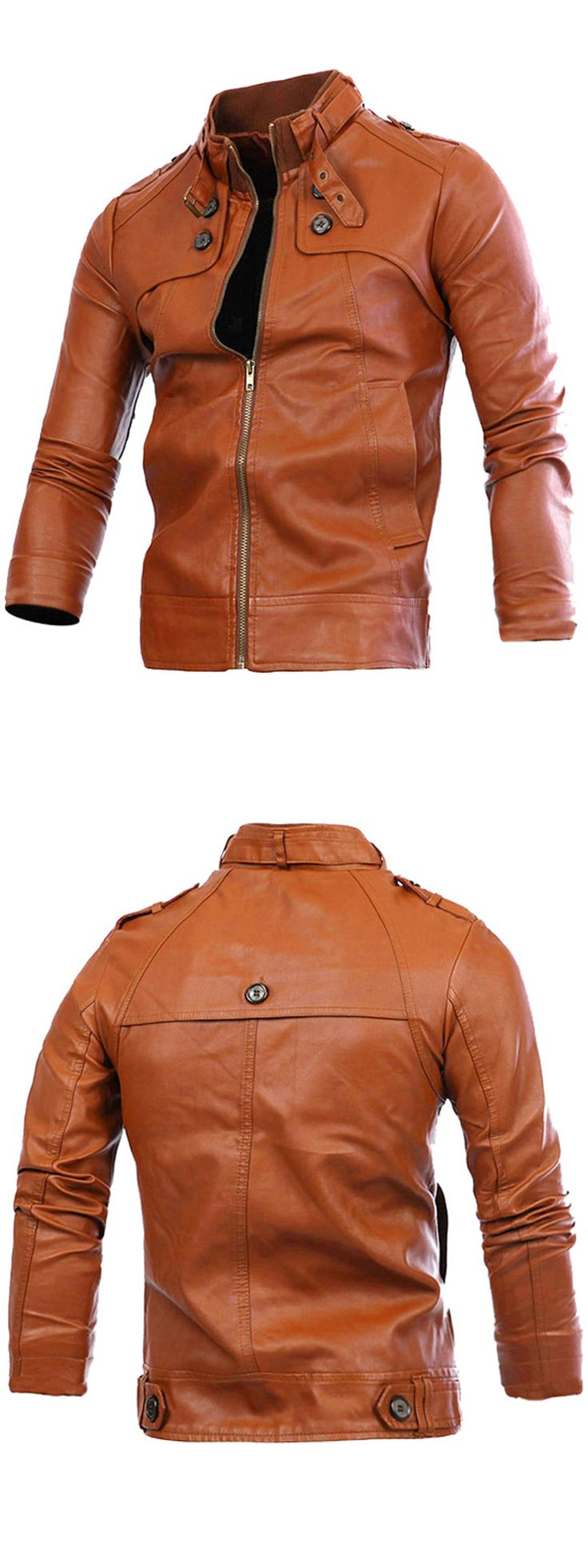 Slimming Rib Spliced Button and Epaulet Design Stand Collar Long Sleeves Locomotive PU Leather Jacket For Men