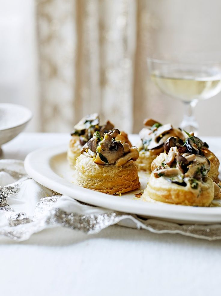 Creamy mushroom vol au vents recipe pastries for Canape recipes jamie oliver