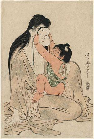 Kitagawa Utamaro: Kintarô Holding Mask before Yamauba's Face - Museum of Fine Arts