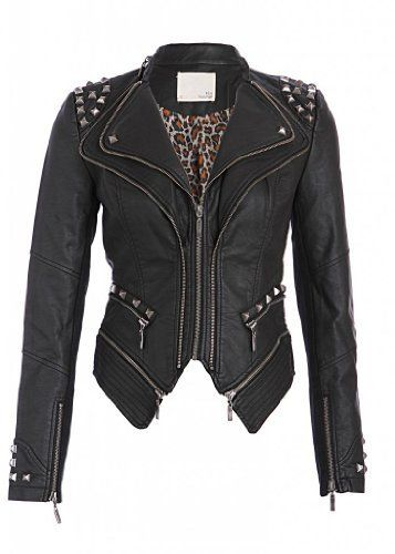 Rocking Cool Black Studded Punk Style PU Faux Leather Slim Fit Moto Jacket  Price : $64.90 http://www.pretty-attitude.com/Rocking-Black-Studded-Leather-Jacket/dp/B00FKVRSPY