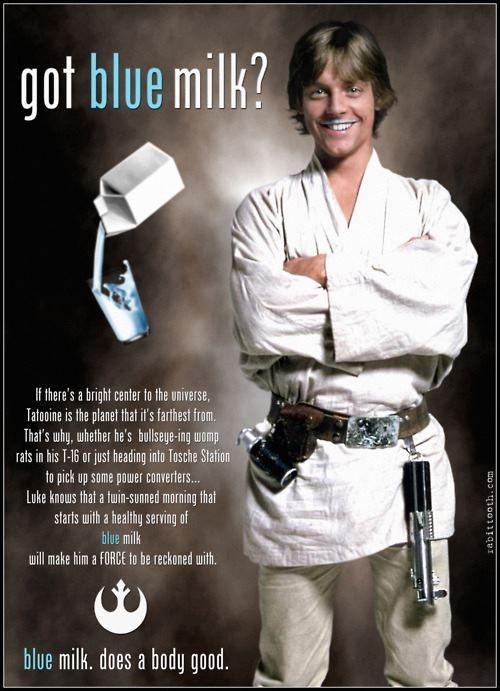 Got blue milk?Galaxies, Nerdy, Stars Wars Blue Milk, Things, Force, Food Processor, Luke Skywalker, Geekery, Starwars Luke