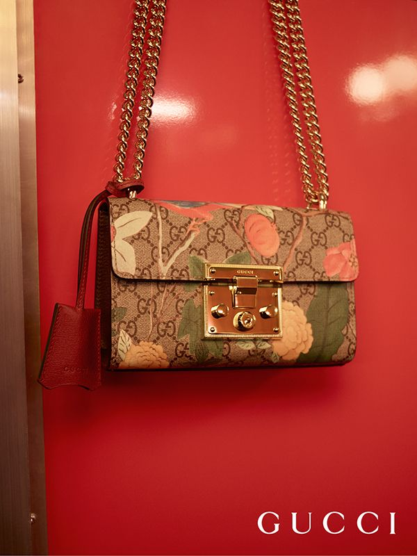 54e45039faba Birds and blooms decorate GG motif in Gucci Spring Summer 2016's new Gucci  Tian Padlock shoulder. GUCCI GG Supreme Monogram Medium ...