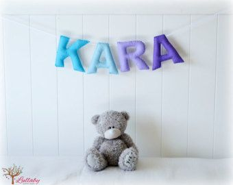 Personalized felt name banner - wall art nursery decor - nursery decor - blue and purple - MADE TO ORDER