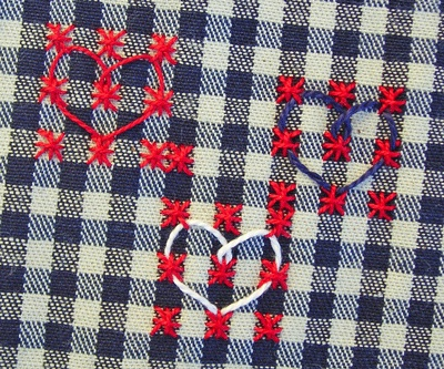 CUTE HEARTS :: Double Cross stitches + the Chicken Scratch stitches on the Checked pattern fabric