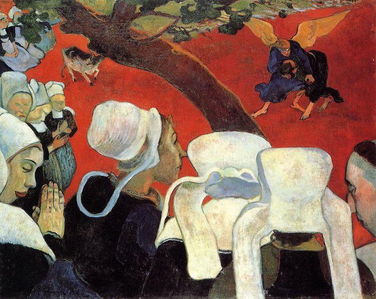 """Поль Гоген """"Видение после проповеди (Борьба Иакова с ангелом)"""" 1888г. СИМВОЛИЗМ."""
