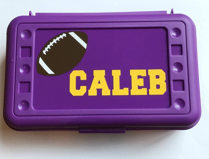 Personalized Pencil Boxes - LSU Football by MamaBforMe on Etsy https://www.etsy.com/listing/538541581/personalized-pencil-boxes-football