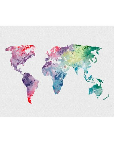 World Map 1 Watercolor Art - ...