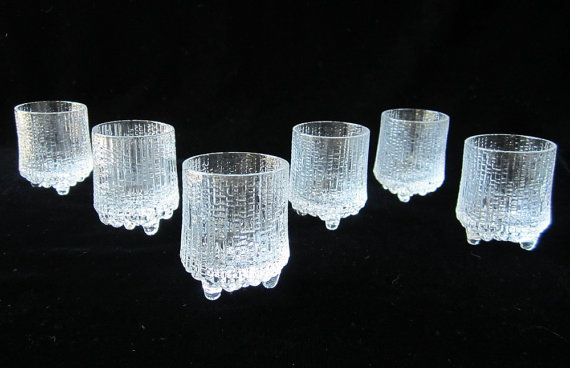 Iittala Ultima Thule 6 Pc Liquor Shot Glasses Set Vintage Scandinavian Modern Art Glass Tapio Wirkkala Finland Small 2 Ounce Unique Home Bar