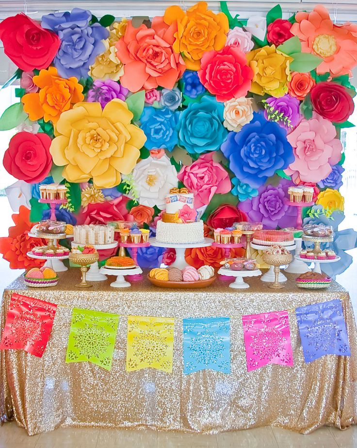 The greatest floral backdrop ever! ~Colorful Baby Shower Inspired by Mexican Culture