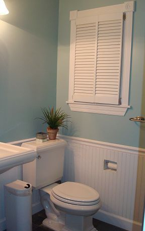 """Love the beadboard! Love the shuttters on the inside & the """"built in"""" toilet tissue Small bathroom remodel"""