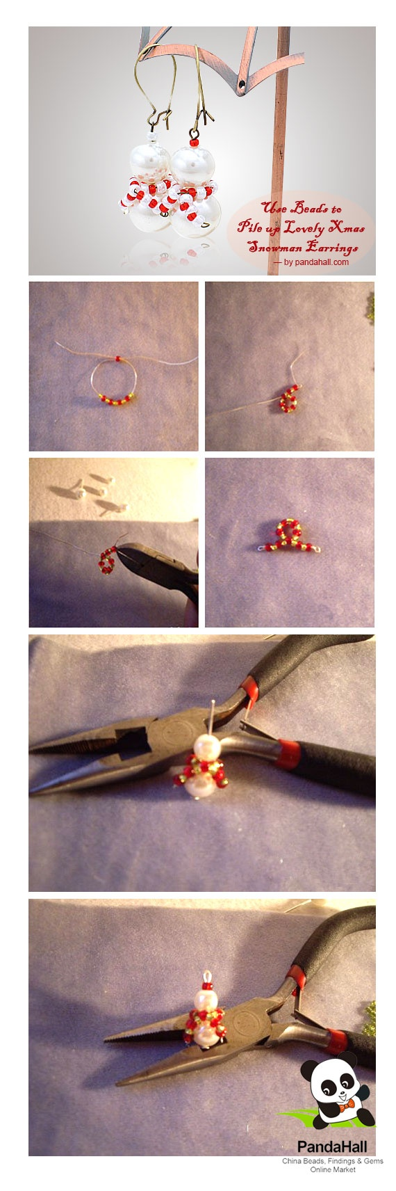 Use beads to pile up lovely Xmas snowman earrings