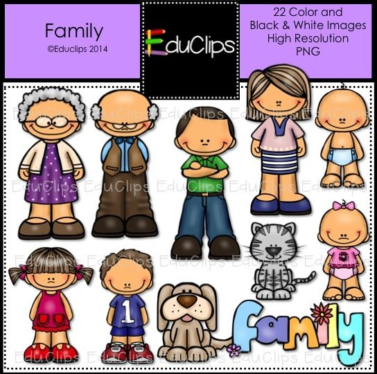 Family Clip Art Bundle (Color and B&W) | Welcome to Educlips Store