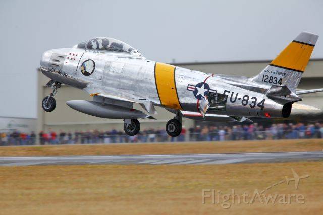 Plane's of Fame F-86F just before touchdown at Paine Field, Everett Wa.