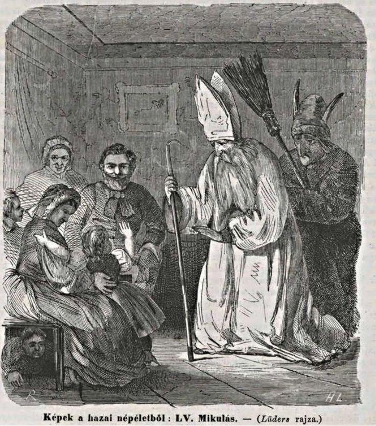 Szent Miklós / Krampusz, illustratie uit 1865