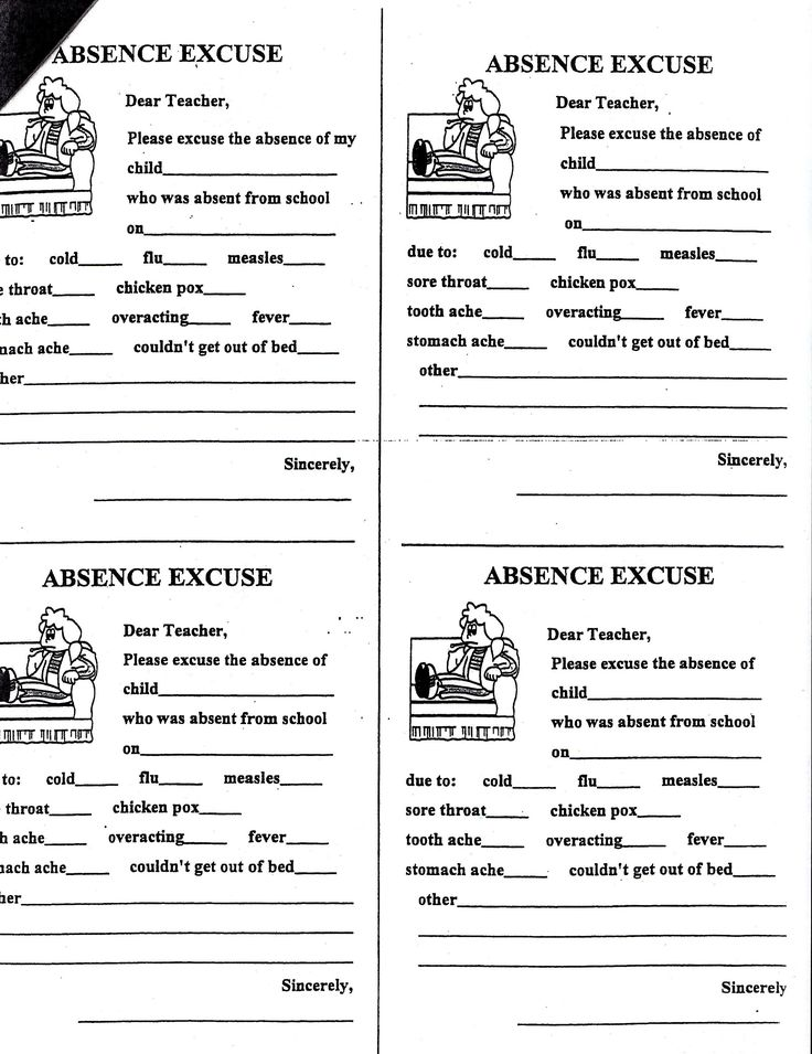 School Absence Note Printable